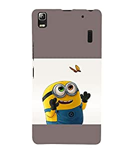printtech Yellow Kid Butterfly Back Case Cover for Lenovo K3 Note