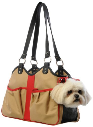 Petote Metro 2 Pet Carrier Bag, Small, Khaki/Black/Red