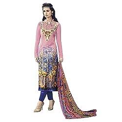 Like a diva JINAAM Pink Cotton Party Wear Salwar Kameez / Churidar Dress material