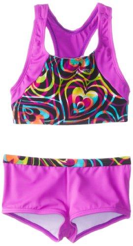 Speedo Big Girls'  Summer Love Boyshort Two-Piece Swimsuit, Multi, 12 image