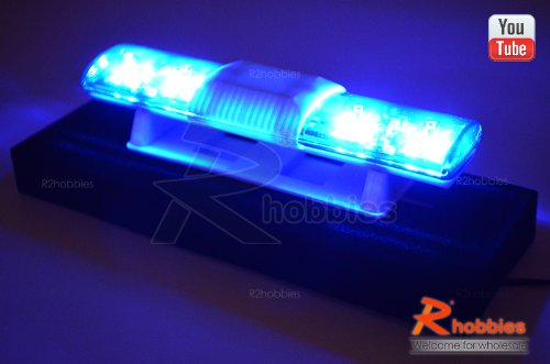 102 X 26Mm Police Petrol 360° Led Light Bar For 1/10 To 1/14 Rc R/C Car Blue