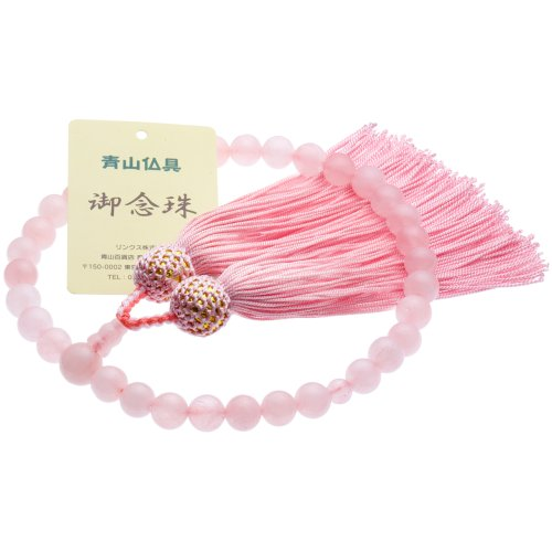 [Buddhist Aoyama] Crimson Crystal ( quartz ) Rosary beads for ladies ( main Pearl 8 mm ) Rosary bag (put Rosary), can be used in all denominations with [managing]