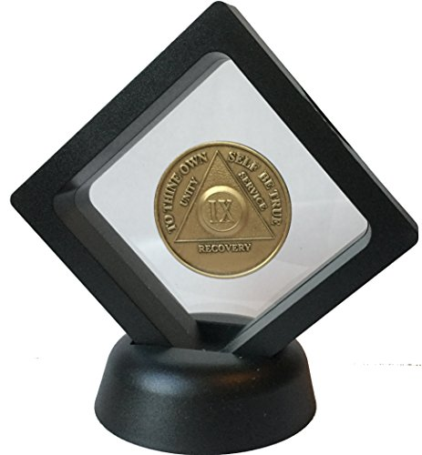 Black-Diamond-Square-Medallion-Challenge-Coin-Chip-Display-Stand-Holder-Magic-Suspension-Box