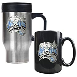 Orlando Magic - Stainless Steel Travel Mug & Black Ceramic Mug Set - Primary Logo