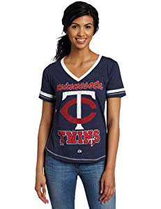 MLB Majestic Minnesota Twins Ladies Bling Beauty Premium Fashion Top - Navy Blue by Majestic
