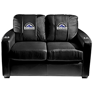 XZipit MLB Silver Loveseat with Colorado Rockies Logo Panel - Black