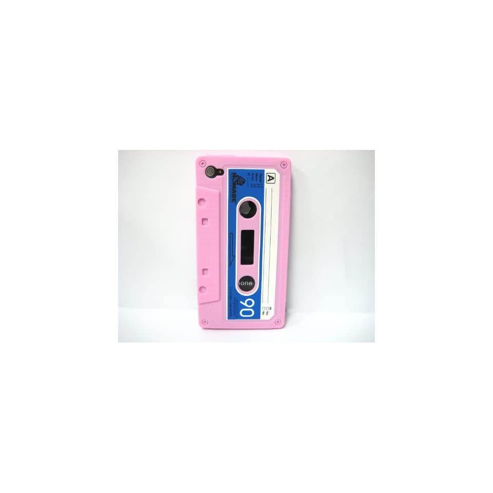 Pink Cassette Tape Design Soft Silicone Skin Gel Cover Case for Verizon AT&T Sprint Apple Iphone 4 4S + Microfiber Pouch Bag