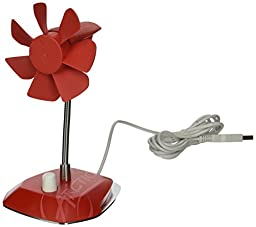 Arctic Breeze USB Desktop Fan with Flexible Neck and Adjustable Fan Speed, Red (ABACO-BRZRD01-BL)