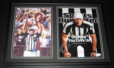 Ed Hochuli NFL Referee Signed Framed 12x18 Photo Set JSA - Framed College Photos, Plaques and Collages