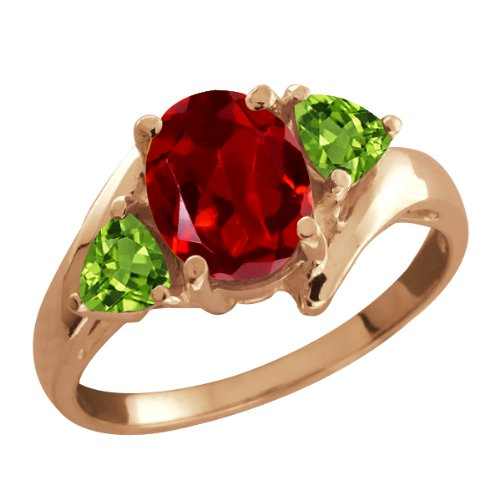 1.92 Ct Oval Red Garnet and Green Peridot 14k Rose Gold Ring
