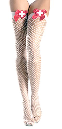 Costume Adventure Women's White Sexy Nurse Fence Net Thigh High Stockings
