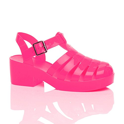 Ajvani Girls Kids Mid Block Heel Gladiator Jelly 90'S Retro Sandals Size 2 35 (Mid Heel Jellies compare prices)