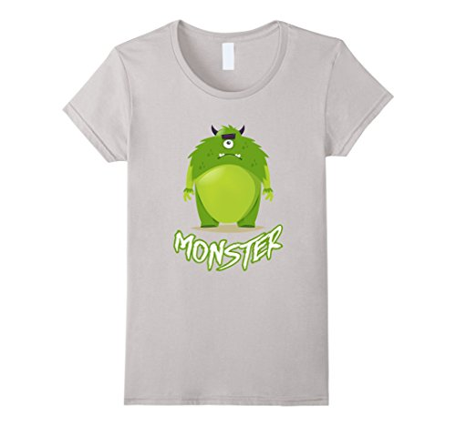 [Women's Green Fat Furry One Eyed Cyclops Monster Funny Cute T-Shirt Medium Silver] (One Eyed Cyclops Costume)