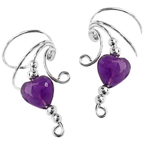 Sterling Silver Purple Amethyst Heart Bead Wave Ear Cuff Wrap Set