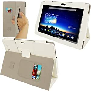 Imitation Sheepskin Texture Leather Case with Holder Sleep Wake-up Function Elastic Hand Strap for Asus PadFone3 Infinity (White)