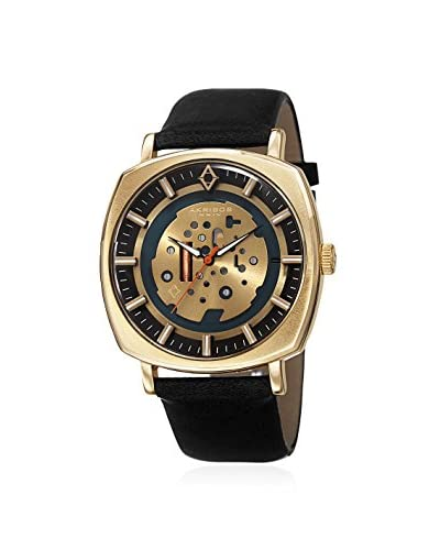 Akribos XXIV Men's AK826YGB Gold-Tone/Black Leather Watch