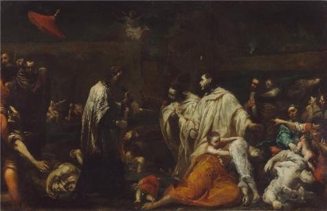 Oil Painting 'Bernard Tolomei And The Plague In Siena, About 1735 By Giuseppe Maria Crespi', 8 x 12 inch / 20 x 32 cm , on High Definition HD canvas prints, Foyer, Game Room And Garage Decoration, own (Primitive Ceiling Fan Blades compare prices)