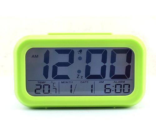 Multi-Funktions LCD Wecker Datum Temperatur Anzeige Snooze Lichtaktivierten Sensor (Grün)
