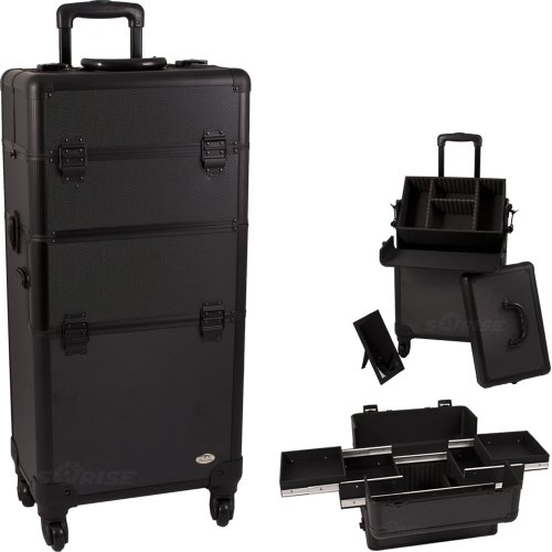 31.25 Inch 360 Degree Rotating 4 Wheel Rolling Professional Black Dot Aluminum 4 Easy Sliding Extendable Trays Studio Cosmetic Beauty Makeup Artist Travel Supply Styling Organizer Tote Holder Storage Train Case Cart Trolley + Removable Case + Adjustable D