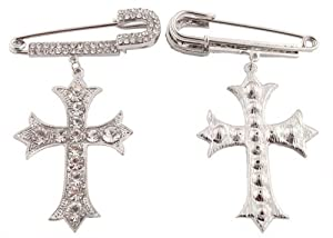 Silver with Clear Iced Out Safety Pin with Dangle Pattee Cross Brooch & Pin