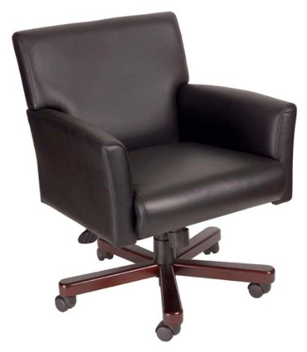 Boss Executive Box Arm Chair with Mahogany Base