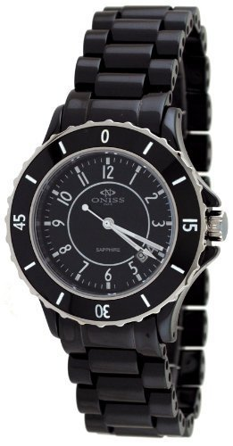 Oniss #ON8043-L Women's Ceramica Fuerte Collection Black Ceramic Watch