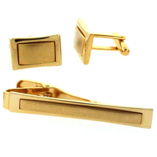 Colibri Cuff Link and Tie Clip Gold Tone in Gift Box AMS030000