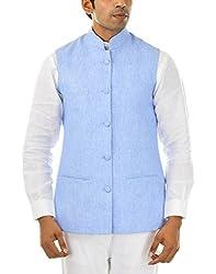 MR WHITE Men's Linen Jacket (Mr-white-JACKET-JODHPURI-03_38, Blue, 38)
