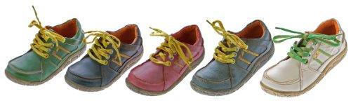 Leder Damen Halb Schuhe Comfort Sneakers Used Look Grün Blau Rot Turnschuhe TMA Eyes
