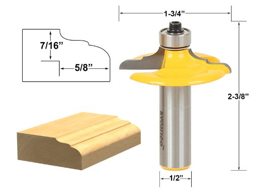 Yonico 12164 Drawer and Cabinet Door Front Edging Classical Router Bit 1/2-Inch Shank (Door Edging compare prices)