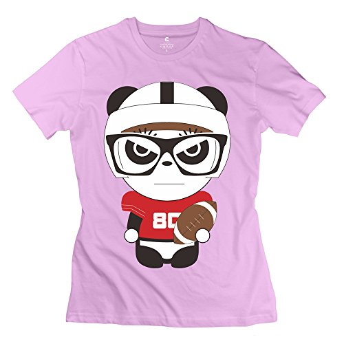 Woman's Funny Football Cotton T-Shirt Pink