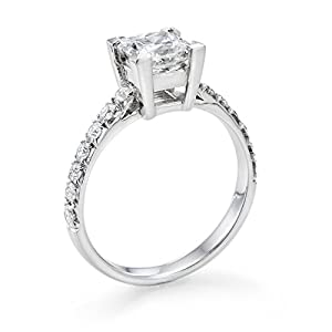 Diamond Engagement Ring in 14K Gold / White GIA Certified, Princess, 1.36 Carat, J Color, VS2 Clarity