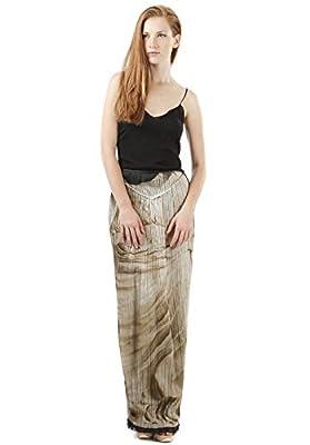 Alberta Ferretti Wbt-A01140135-Bb44 Women's Black And Beige Pleated Silk Skirt