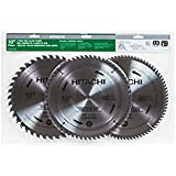 Hitachi 115166 Finish and Combination Miter/Table Saw Blade Set, 10-Inch, 3-Pack