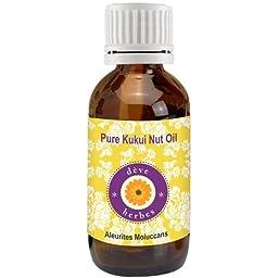 dève herbes Pure Kukui Nut Oil (Aleurites moluccans)100% Natural Cold Pressed Therapeutic Grade (5-1250ml)