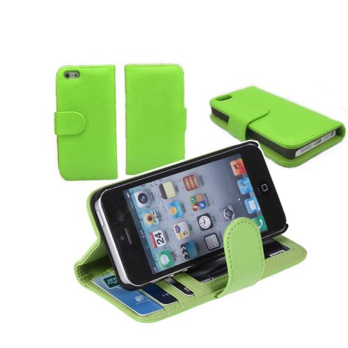 Candywe Wallet Style Pu Folio Leather Case With 3 Card Slots Cover For Iphone 5 5G 5S (Green)
