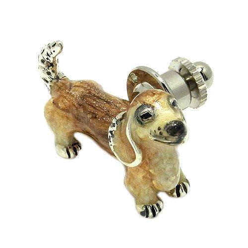 新宿銀の蔵 【SATURNO】ミニチュアダックスフンドのピンブローチ シルバー925製 /犬グッズ/動物/