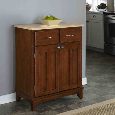 Dover Buffet in Cherry Home Furniture Kitchen sideboard Outdoor dining table with two door storage cabinet with two utility drawers and one adjustable shelf provides ample space for storing of larger pots, pans, serving bowls or small appliances.