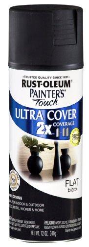 Rust-Oleum 249127 Painter's Touch Multi-Purpose Spray Paint, Flat Black, 12-Ounce
