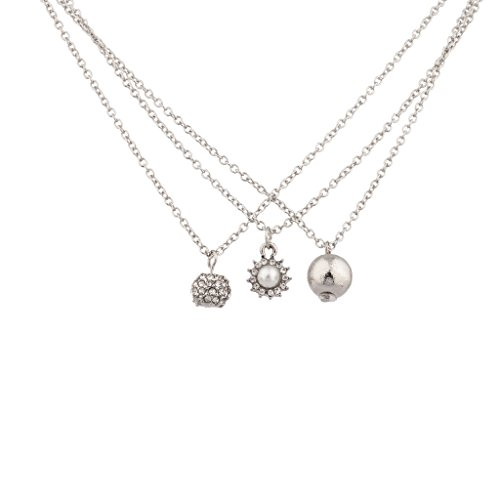 Lux Accessories Fireball Smooth Ball Faux Pearl Pave Ball Charm Necklace 3 PC Bridal Set