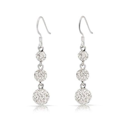 Bling Jewelry 3 White Crystal Balls Shamballa Inspired Dangle Earrings 925 Sterling