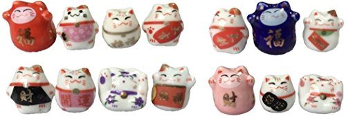Beckoning cat beads ceramic beads (14 different pattern B, 2 each 28 total)