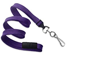 "Purple 3/8"" Wide 36"" Flat Braid Breakaway Lanyard, Swivel Hook (100/bag)"