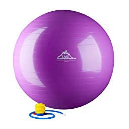 Black Mountain Products 2000-Pound Static Strength Exercise Stability Ball with Pump, Purple