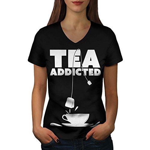 addicted-to-tea-cup-bag-cuppa-women-new-black-m-v-neck-t-shirt-wellcoda