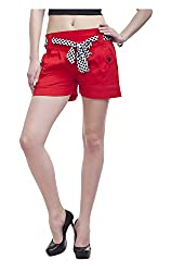 Peptrends Women's Cotton Shorts (SHO16073RD, Red, L)