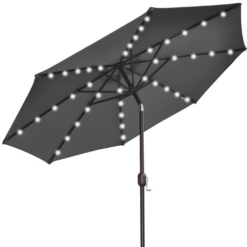 outdoor umbrella with solar lights funk this house. Black Bedroom Furniture Sets. Home Design Ideas
