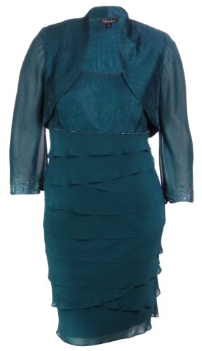 S L Fashions Women's Shimmer & Chiffon Bolero Jacket Dress (14W, Peacock)