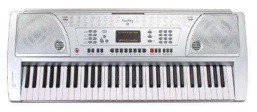funkey-61-keyboard-silber-61-tasten-100-klangfarben-100-rhythmen-8-demo-songs-netzteil-notenstander