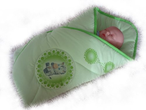 Blueberry Shop Newborn Baby Swaddle Wrap Blanket Duvet Sleeping Bag Snuggle Wrap Green Zebra - 1